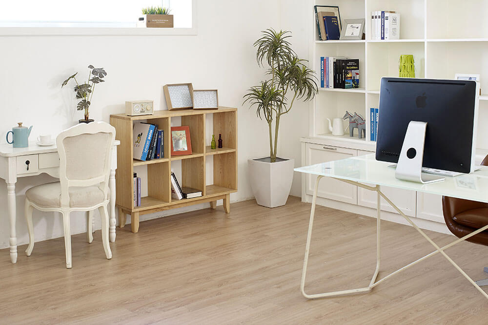 laminate flooring installed in home office